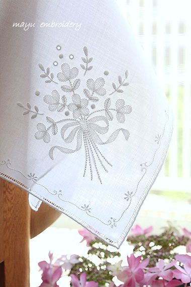 Shadow Work Embroidery : Handkerchief ~ Mayu Embroidery