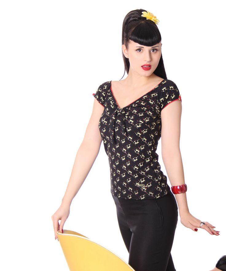 Avelina Martiniglas 50s retro Pin Up Shirt v. SugarShock Frauen T-Shirts und Tops