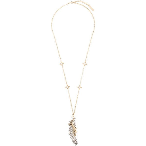 Alberta Ferretti feather pendant necklace ($660) ❤ liked on Polyvore featuring jewelry, necklaces, metallic, metal necklace, metal feather necklace, feather jewelry, feather necklaces and feather pendant necklace