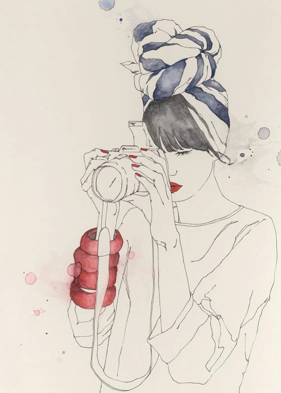About A Girl #girl #camera #art #drawing #fashion #illustration