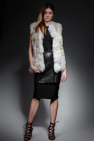 creamy white patchwork fox fur vest – horovitz