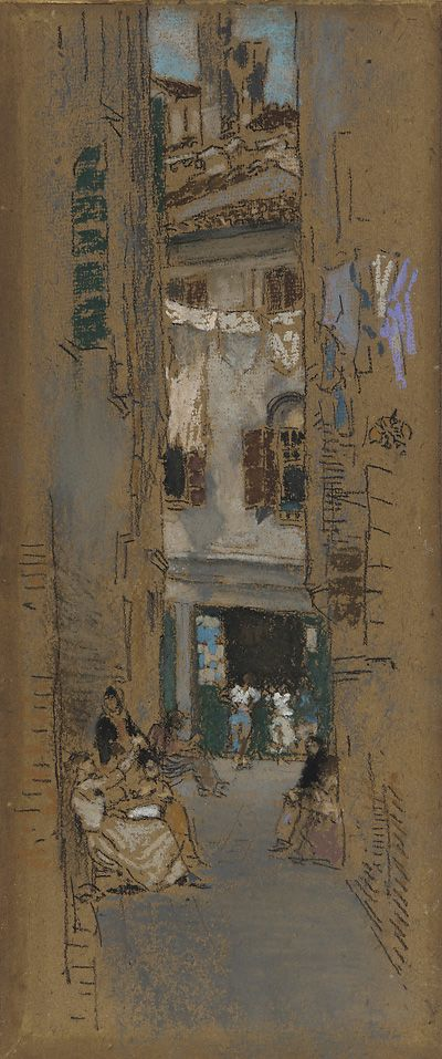 """""""Bead Stringers,"""" James McNeill Whistler, 1880, Crayon and pastel on brown paper, 10.9 x 4.6"""", Freer Gallery of Art."""