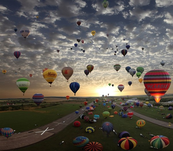 Hot air balloon mass assent... I witnessed one in Plano, Texas when I lived there years ago... what a sight to behold.