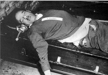 The body of Fritz Sauckel after being hanged for war crimes on Oct. 16, 1946