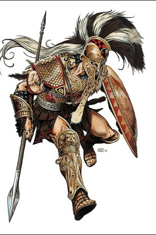 Hoplite. Colorized version of an earlier BW sketch I pinned.