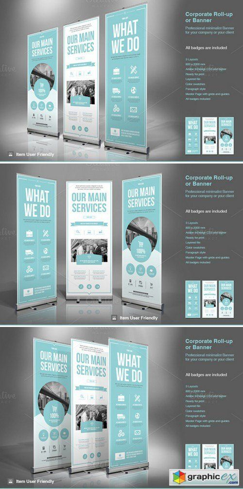 I like the icons on the banner. Business Roll-Up Banner