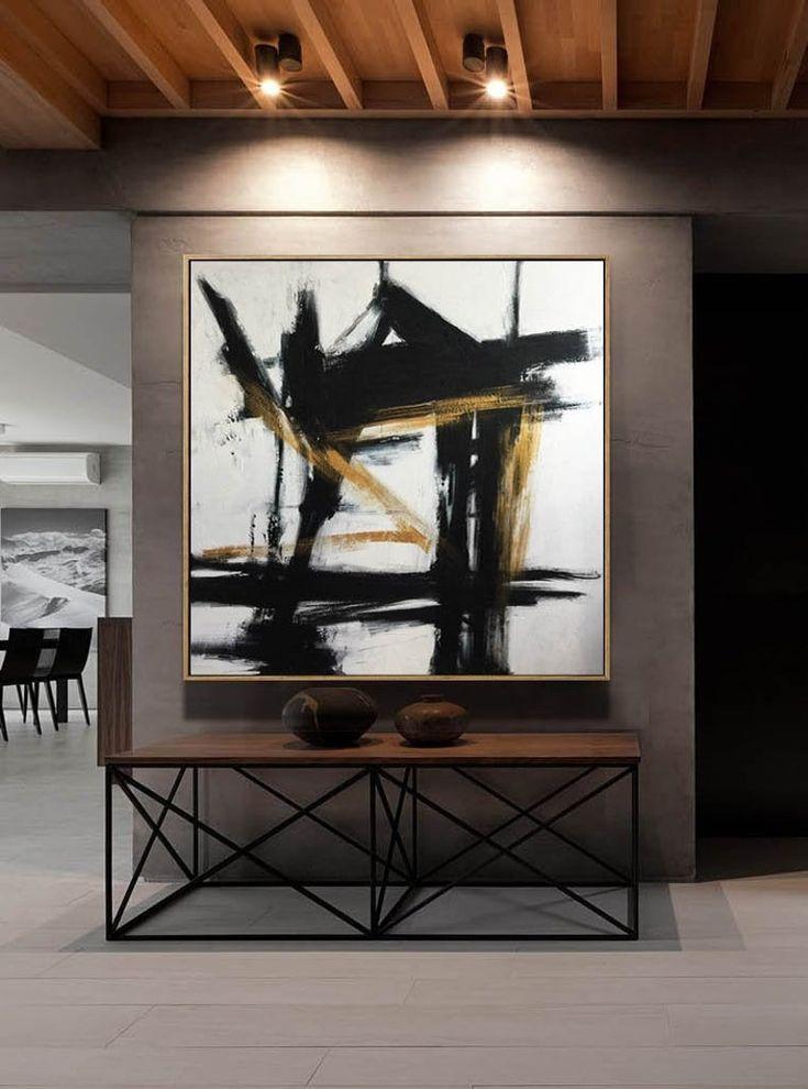 Oversize parete arte tela nero e bianco pittura originale
