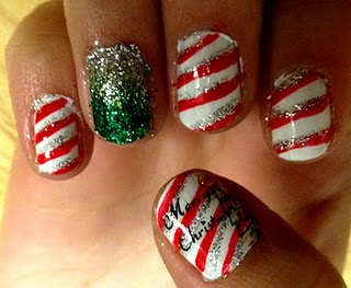 Christmas candy cane nails! :D
