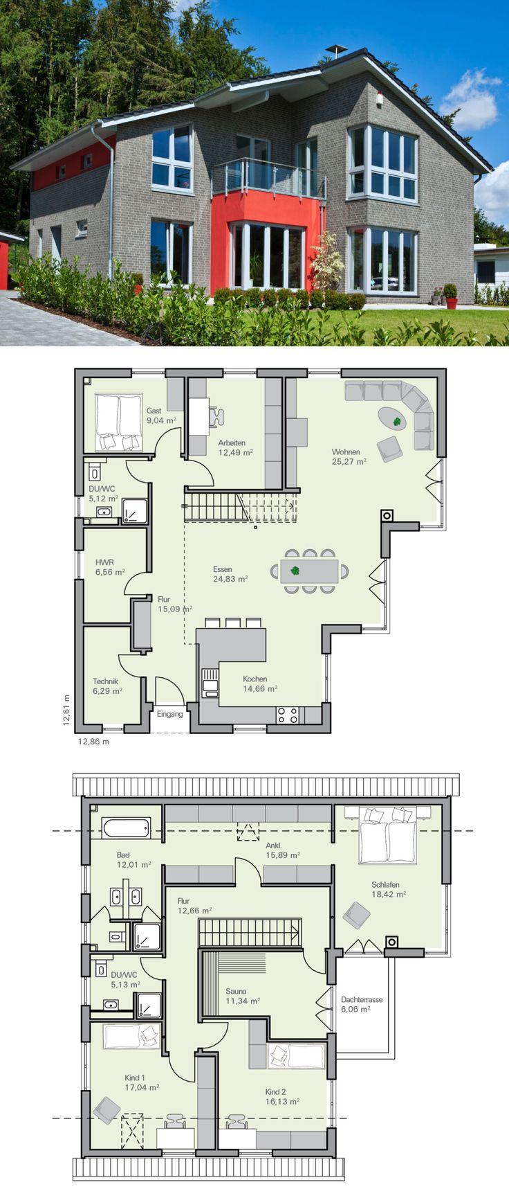 Modernes Einfamilienhaus mit Garage, Klinker Fassa…