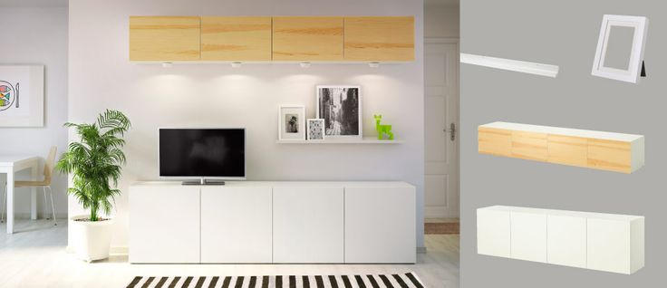 BESTÅ wall cabinets with pine veneer doors and white TV storage combination