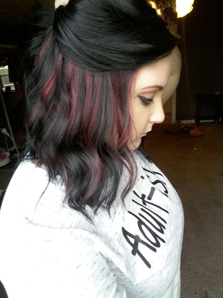 Jet black hair with red peekaboo