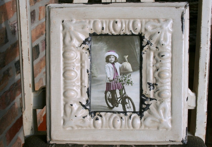 Antique Ceiling Tin Picture Frame --  4 x 6 -- Cream Colored Paint with Egg and Dart Design. $36.99, via Etsy.