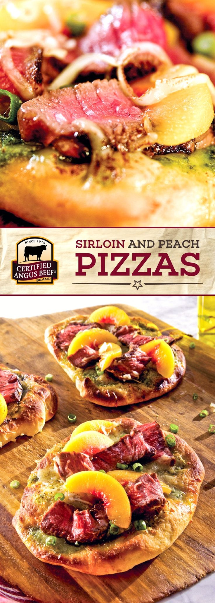 Certified Angus Beef®️ brand Sirloin and Peach Pizzas are made with the BEST sirloin steak, and a delicious pesto that combines basil, oregano, shallots, and other BOLD spices! The sweetness of the peaches brings out the deep flavors of the steak in this tasty dinner recipe. #bestangusbeef #certifiedangusbeef #beefrecipe #dinnertime #steakrecipe #pizza