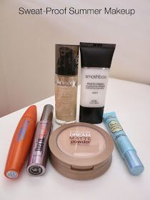 sweat-proof summer makeup, oily skin makeup, combination skin makeup, smashbox primer, revlon colorstay, benefit mascara, covergirl mascara, too faced primer, maybelline powder