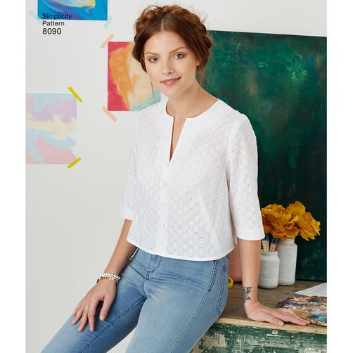 Simplicity 8090 - Easy-to-Sew Button Shirt and Pullover Top