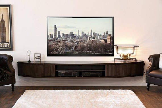 Curved Wall Mount Floating Entertainment Center TV Stand – Arc – Espresso