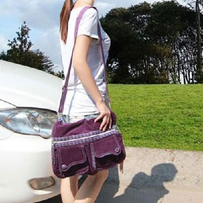 Ladies Purple bag ladies Computer Bag Shoulder Satchel Bag Multi Pocket corduroy    Price: $17.90