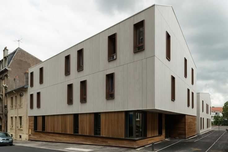 EQUITONE facade materials on 24 Housing Units / Zanon + Bourbon Architects. www.equitone.com #architecture #material #facade