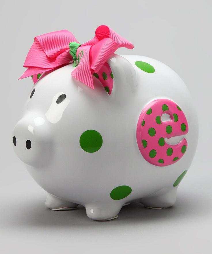 Pink 'E' Initial Piggy Bank