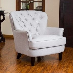 Mid Century Style Beige with Gray Undertone Button-tufted Upholstered Accent Armchair with Espresso Legs and Metal Nailhead Trim