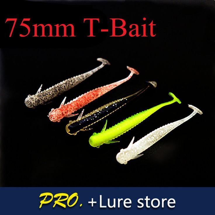 Free shipping 40pcs 75mm 2g fishing soft double colors lifelike bass striper deep diver carp fishing soft Japan T-tail lure