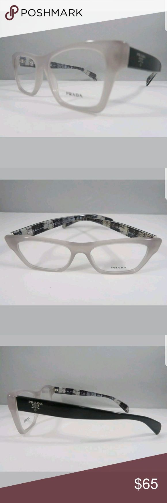 """NEW """"PRADA"""" glasses!! Brand new plastic/metal pair of PRADA eye glasses. Colors in framed are black/beige/plaid. Frames come with a generic hard case. Measurements are 140 temple length, 54 lens length & 40 vertical length. Very nice!! Prada Accessories Glasses"""