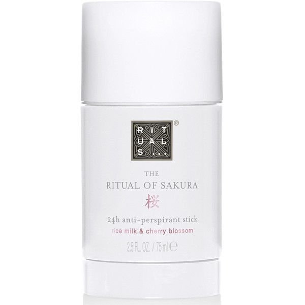 Rituals The Ritual of Sakura Anti-Perspirant Stick (75ml) ($12) ❤ liked on Polyvore featuring beauty products, bath & body products, deodorant, flower perfume, antiperspirant deodorant, anti perspirant deodorant and blossom perfume