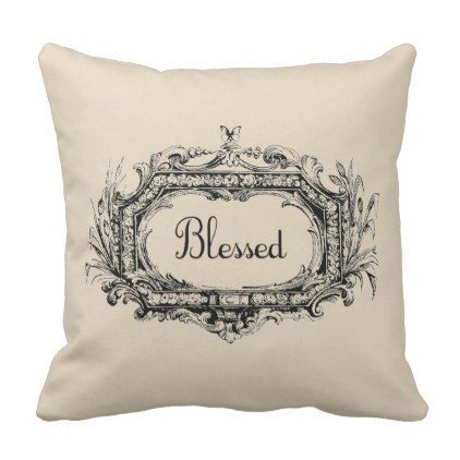 Blessed Vintage Style Farmhouse Throw Pillow - diy cyo customize create your own personalize