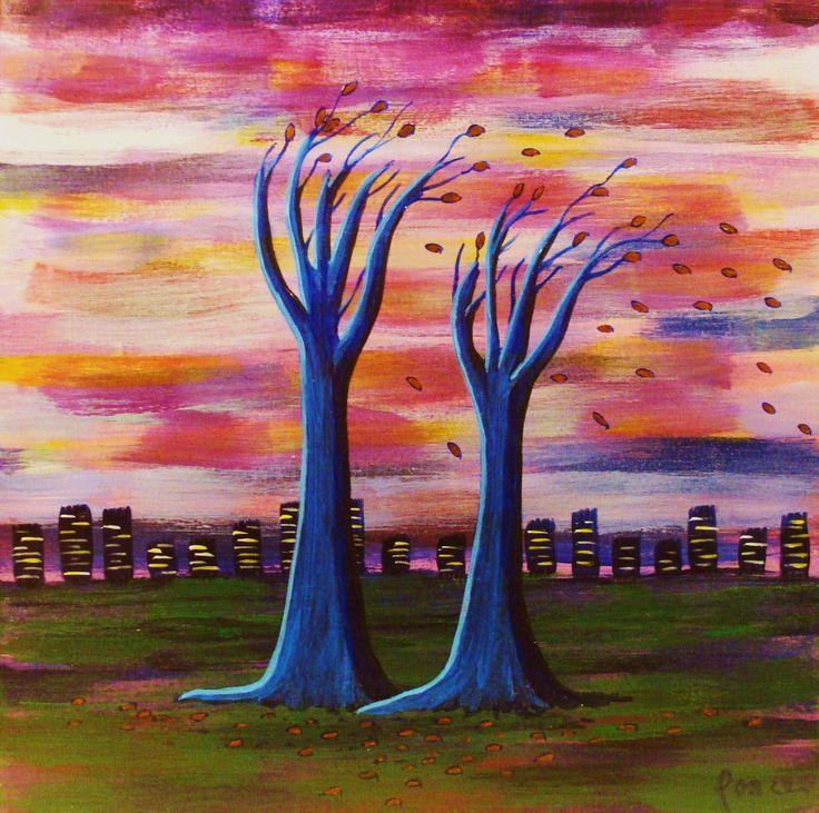 Arboles de Junio - by Daniel Ponce - Acrílico sobre tela. Pintor chileno / Arte / #trazosdesol #danielponce
