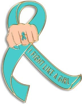 Wear this teal Fight Like a Girl lapel pin to show your support for a teal ribbon cause. - Ovarian Cancer Lapel Pin