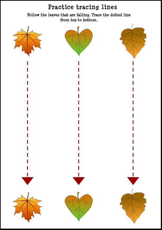 Fall-Leaf-Tracing-Lines-Worksheet-For-Kids | Crafts and Worksheets for Preschool,Toddler and Kindergarten