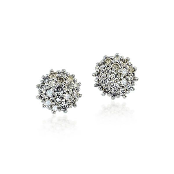 Diamant-Ohrstecker 14 kt. Weißgold mit  0,881ct Diamanten-Rosette#Schmuck #Schmuckboerse #vintage #ohrringe #ohrstecker #vintage