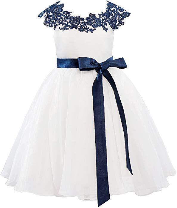 1f7c2150b Amazon.com: Dresslane Navy Blue Lace Ivory Organza Flower Girl Dress Kids  Dress: Clothing