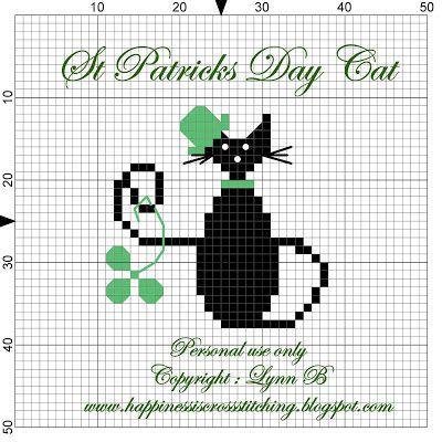 Lynn B 's finishing instructions for cross stitch : St Patrick's Day Cat Pattern