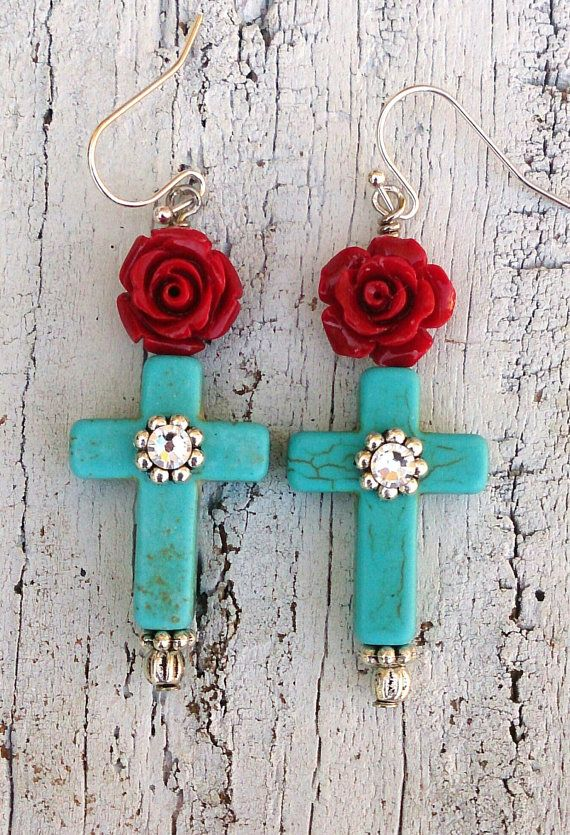 Turquoise Cross Red Rose Earrings Religious by Secret Stash Boutique on Etsy