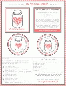 Pot vol Love-Koekjes: Printable's