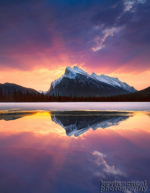 Mt Rundle Sunrise, Banff National Park, Alberta, Canada   by Kevin McNeal, via Flickr