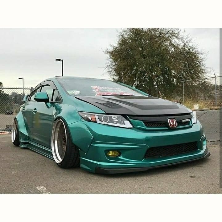 Modified Honda Civic Sedan With Overfenders #groundeffects #bodykit