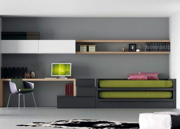 Moderna y pr ctica habitaci n juvenil de l nea for Cama minimalista