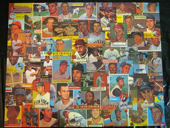 decoupage canvas | Vintage Baseball Card Decoupage Canvas by samuelwyoung on Etsy