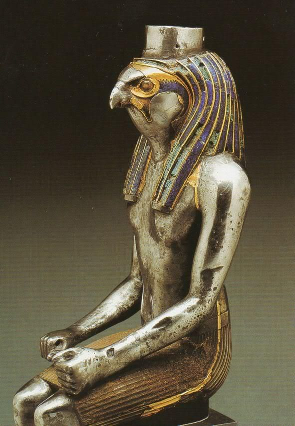 Silver statue of a Horus, originally gilded, and with lapis lazuli; dated to the Third Intermediate Period; now in the British Museum..
