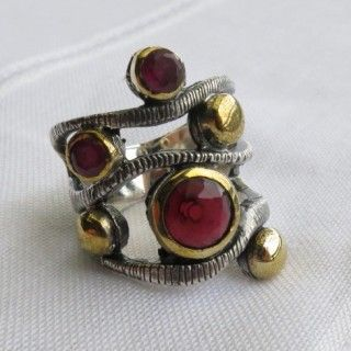 ruby inspired large turkish vintage style ring 925 sterling