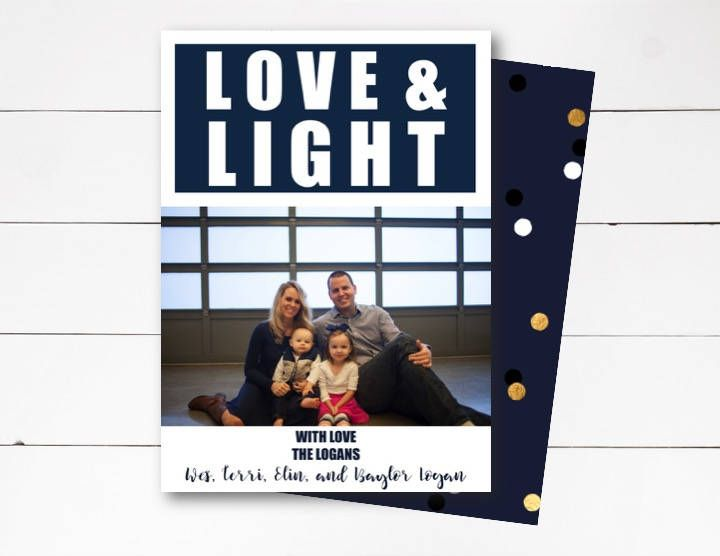 Love and Light Photo Card, Hanukkah Photo Card, Holiday Photo Card, Hanukkah Card, Celebration of Light, Photo Card, DIY or Printed by NOLALOULOU on Etsy