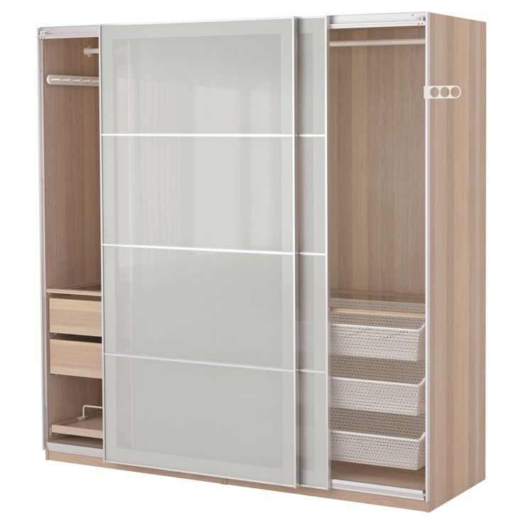 wardrobe pax white stained oak effect sekken frosted glass. Black Bedroom Furniture Sets. Home Design Ideas