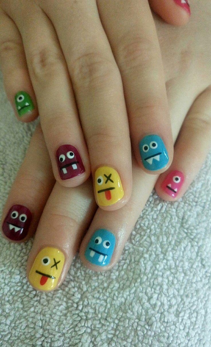 Multi coloured CND shellac gel nails