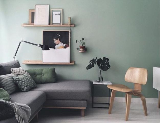 Sage green wall with grey sofa and birch wood.