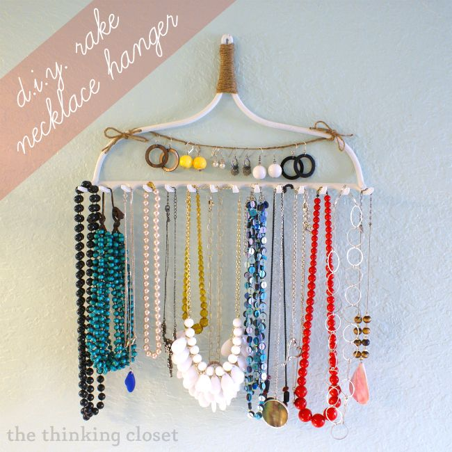 Easy DIY Rake Necklace Hanger (she: Lauren) -- Cute and helps me organize, the best!