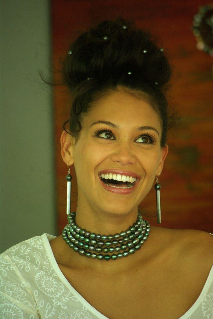 "Polynesian beauty queen. Hinarere Taputu, Miss Tahiti 2014 modeling for ""Bora Bora Original"""
