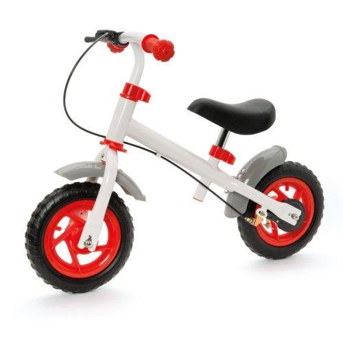 Cette draisienne avec frein est une étape parfaite avant de passer au vélo, sans les petites roues. L'enfant apprend à trouver son équilibre et à utiliser un frein. Cette draisienne a un frein à tambour, sa selle et son guidon se règlent en hauteur. Ses pneus de 10 pouces sont increvables et elle est équipée de deux garde-boues.