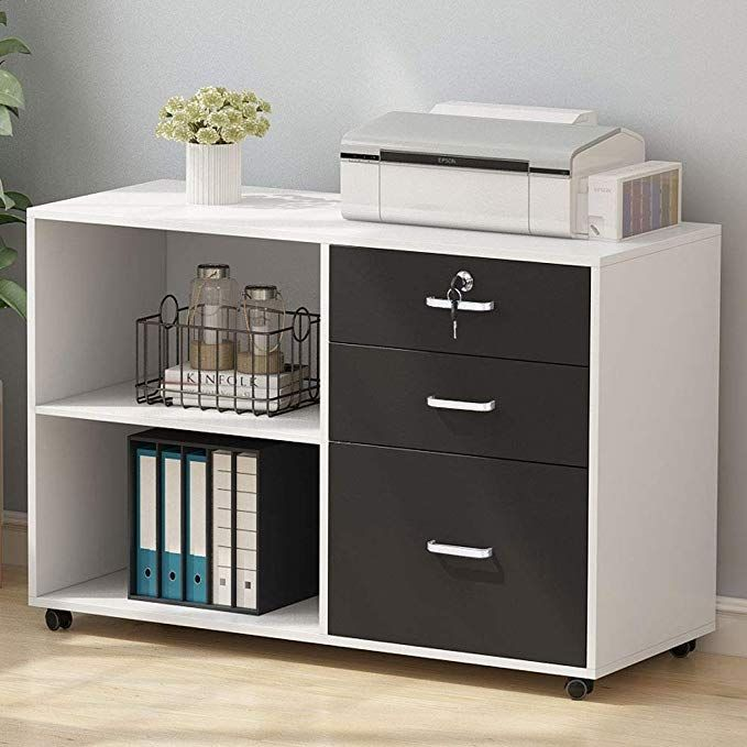 Tribesigns 3 Drawer Wood File Cabinets With Lock Large Modern Lateral Mobile Filing Cabinets Printer Stand Filing Cabinet Printer Storage Home Office Storage